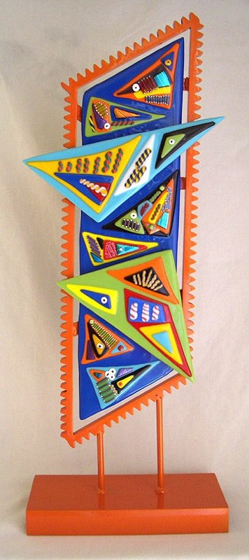 Fused Glass Sculpture Zig Zag