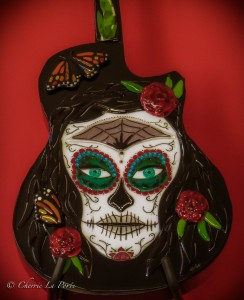 La Catrina glass guitar